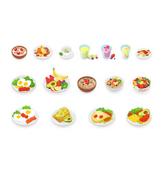 healthy breakfast food icons collection muesli vector image