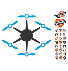 hexacopter icon with valentine bonus vector image vector image
