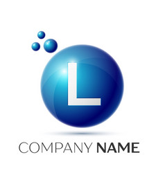 L letter splash logo blue dots and circle bubble vector