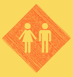 Male and female sign red scribble icon vector