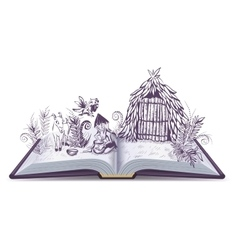 Robinson Crusoe on desert island Open book vector image