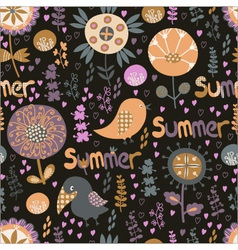 seamless summer pattern with flowers birds and he vector image