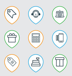 Set of 9 e-commerce icons includes mobile service vector