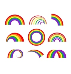 Set of rainbows white background vector