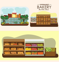 set of supermarket departments fruit food store vector image vector image