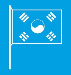 South korea flag icon white vector