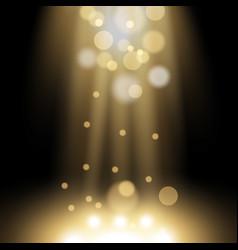 Spotlight light effect with sparks golden color vector