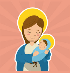virgin mary holding baby jesus catholicism saint vector image