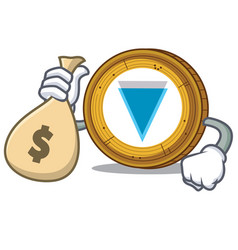 with money bag verge coin character cartoon vector image vector image