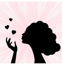 womans face silhouette vector image vector image