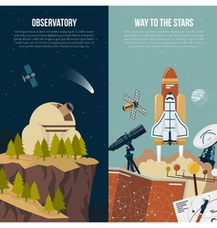 Astronomy vertical banners vector