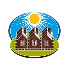 Bright of country houses and sunny landscape Villa vector image