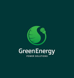 Green energy power solutions abstract sign vector