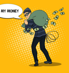 Pop art thief in black mask stealing money vector