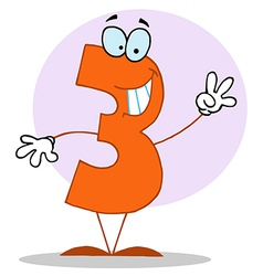 Funny cartoon friendly number 3 three guy vector