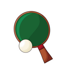 ping pong sport racket and ball hobby vector image