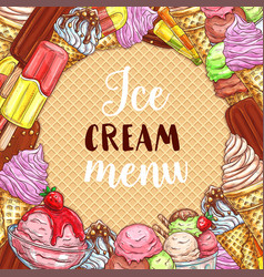 Ice cream menu sketch poster on waffle texture vector