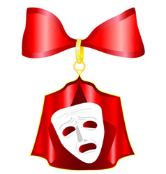 Theatrical mask with a red ribbon vector