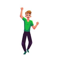 Young man boy guy rejoicing cheering jumping vector