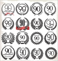 90 years anniversary laurel wreaths vector