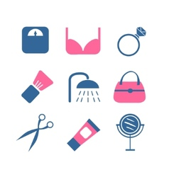 Color beauty icons on white background vector