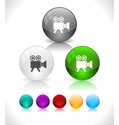 Glossy colorful abstract glass balls vector