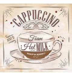 Poster cappuccino kraft vector image