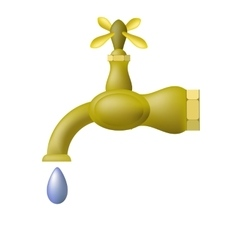 Water tap and blue drop vector