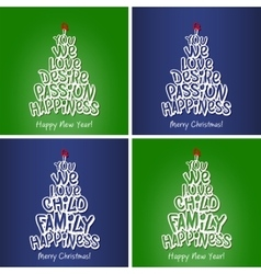 New year and christmas happiness family card set vector