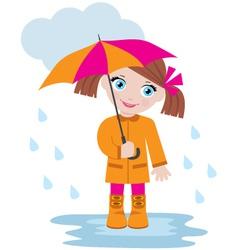 little girl under an umbrella vector image