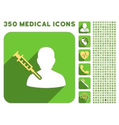 Patient vaccination icon and medical longshadow vector