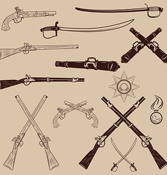 Ancient weapon ax sword sabers grenades vector
