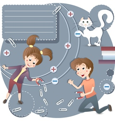 Children in the classroom physics vector