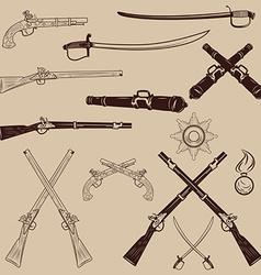 Ancient weapon ax sword sabers grenades vector