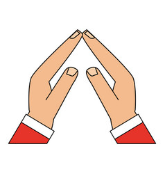Color image cartoon front view hands touching with vector