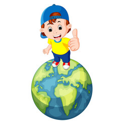 cute boy standing on the world vector image