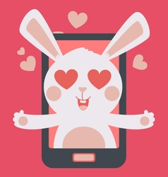 Cute bunny crazy in love inside phone vector