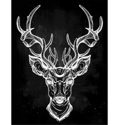 Deer head in line art style vector image vector image