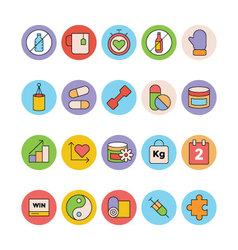 Fitness and health colored icons 5 vector