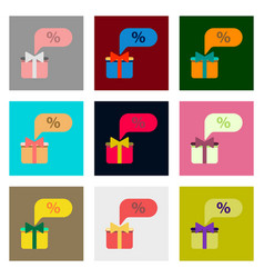 Flat assembly icons of gift box discount vector