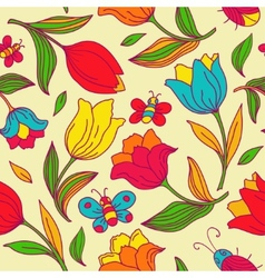 Floral pattern with butterflies and tulips vector image vector image