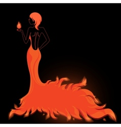 Girl in a fiery dress vector image vector image