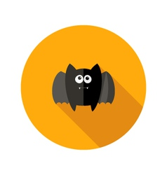 Halloween bat flat icon with fangs vector