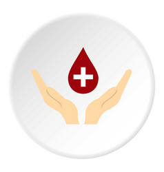 hands holding blood drop icon circle vector image