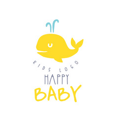 Happy baby kids logo colorful hand drawn vector