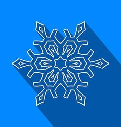 Long shadow filigree snowflake icon vector image vector image