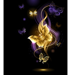 Magic gold butterflies vector