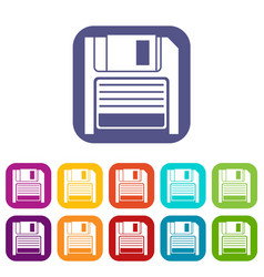 Magnetic diskette icons set vector