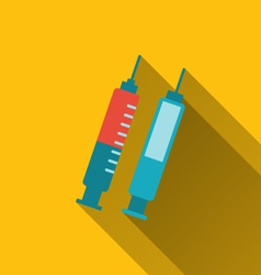 Modern flat icons of syringes with long shadows - vector