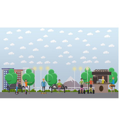 modern park concept in flat vector image